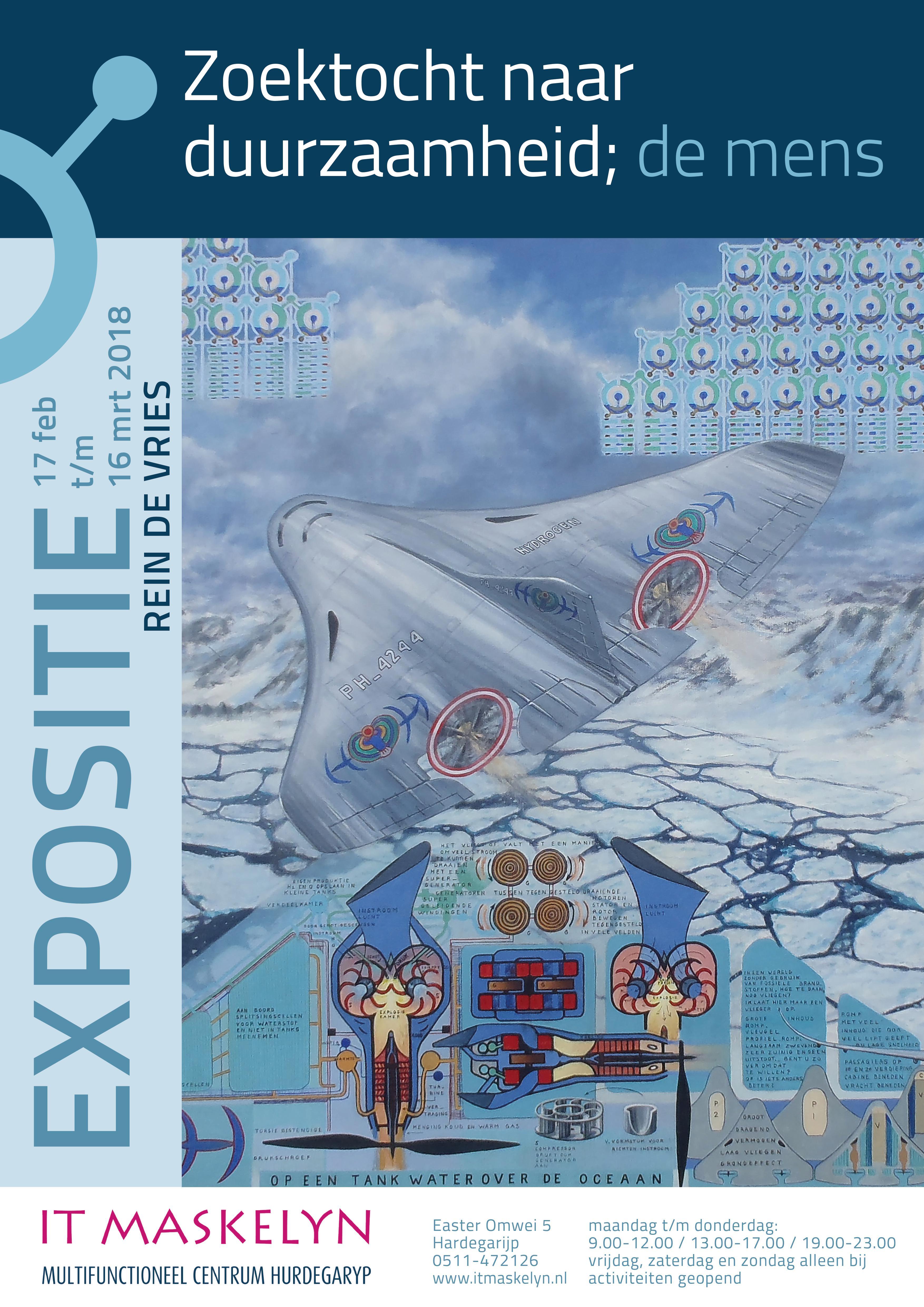 Expositie Rein de Vries met als thema 'De zoektocht naar duurzaamheid, de mens'.