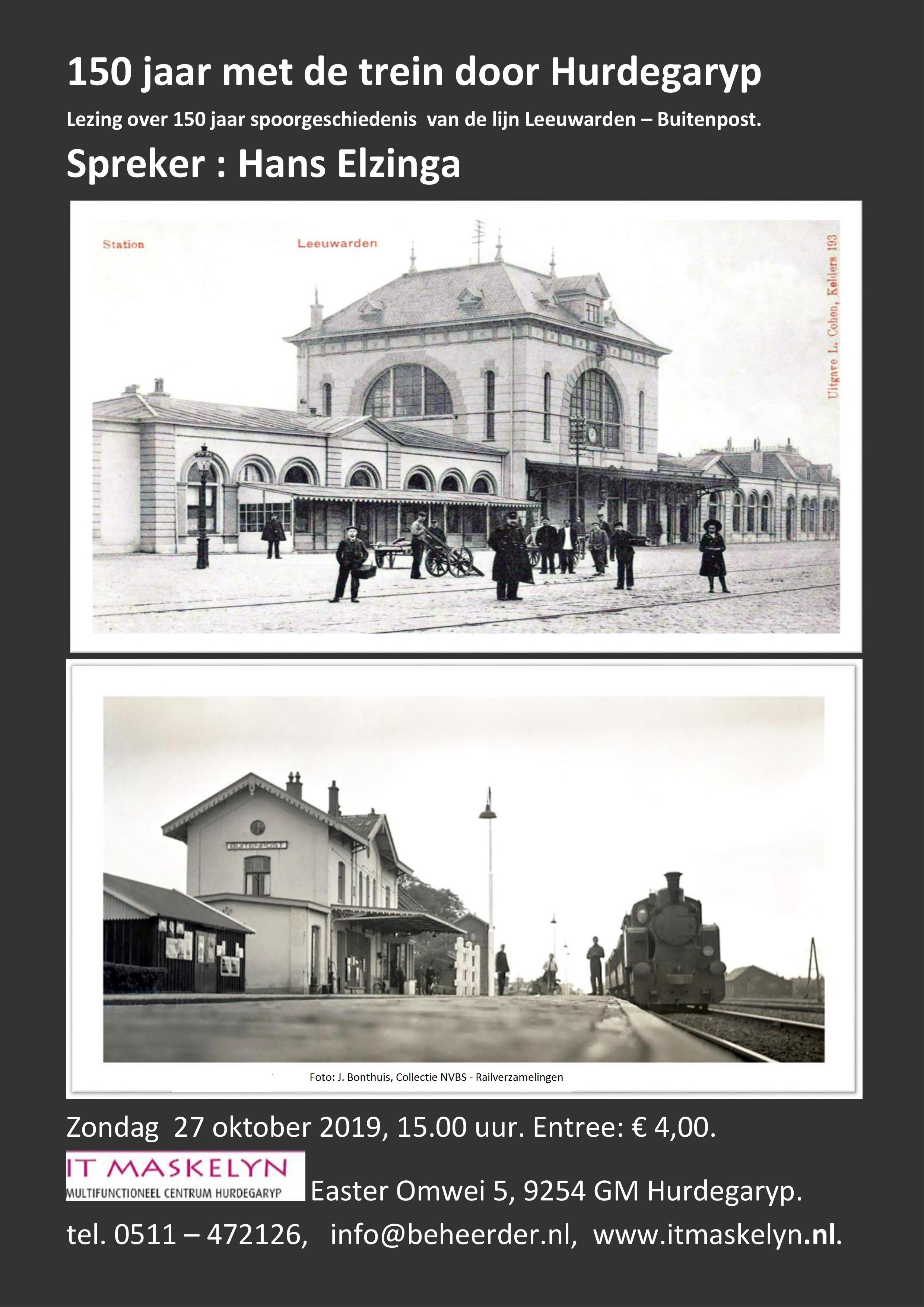 150 jaar met de trein door Hurdegaryp. Lezing over 150 jaar spoorgeschiedenis van de lijn Leeuwarden - Buitenpost.