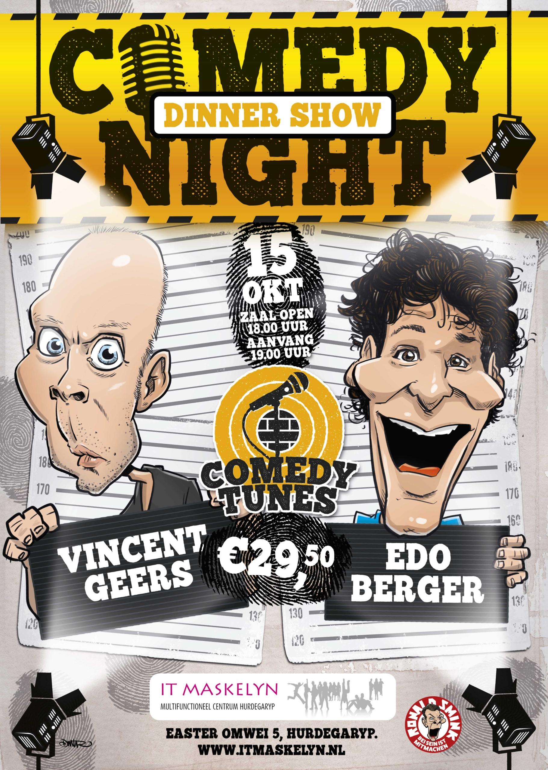 Comedynight Dinner Show met Vincent Geers en Edo Berger